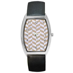 CHEVRON1 WHITE MARBLE & SAND Barrel Style Metal Watch