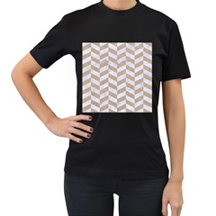 CHEVRON1 WHITE MARBLE & SAND Women s T-Shirt (Black) (Two Sided)
