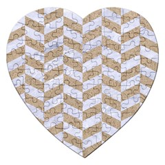 CHEVRON1 WHITE MARBLE & SAND Jigsaw Puzzle (Heart)