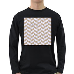 Chevron1 White Marble & Sand Long Sleeve Dark T Shirts
