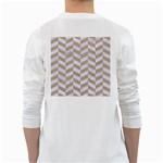 CHEVRON1 WHITE MARBLE & SAND White Long Sleeve T-Shirts Back