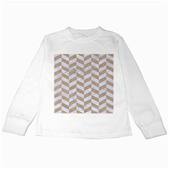 CHEVRON1 WHITE MARBLE & SAND Kids Long Sleeve T-Shirts