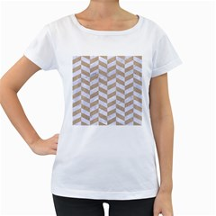 CHEVRON1 WHITE MARBLE & SAND Women s Loose-Fit T-Shirt (White)