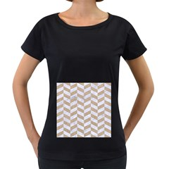 CHEVRON1 WHITE MARBLE & SAND Women s Loose-Fit T-Shirt (Black)