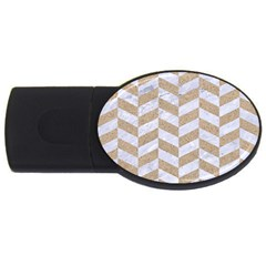 CHEVRON1 WHITE MARBLE & SAND USB Flash Drive Oval (4 GB)