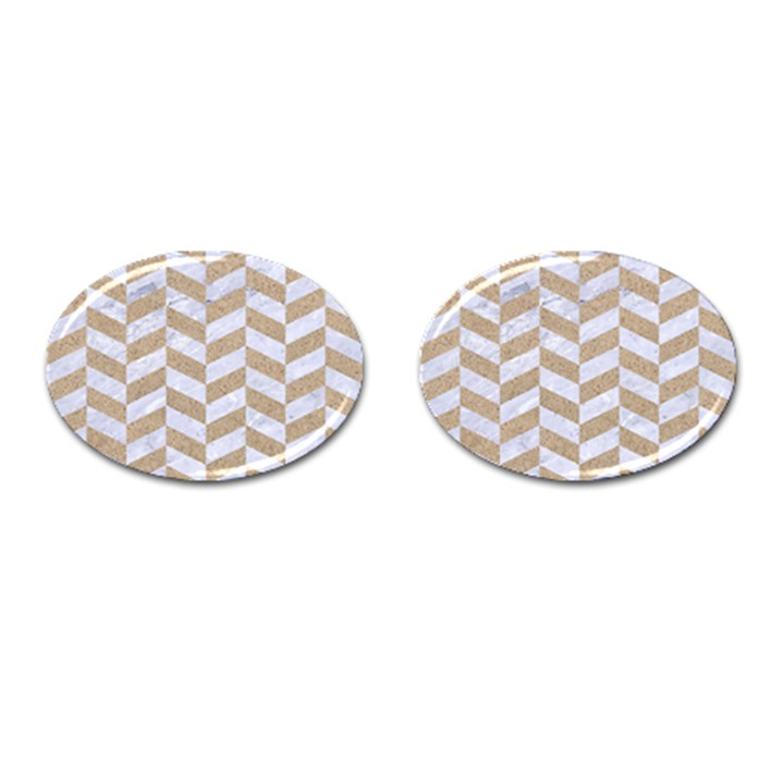 CHEVRON1 WHITE MARBLE & SAND Cufflinks (Oval)