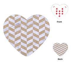 Chevron1 White Marble & Sand Playing Cards (heart)  by trendistuff