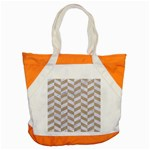 CHEVRON1 WHITE MARBLE & SAND Accent Tote Bag Front