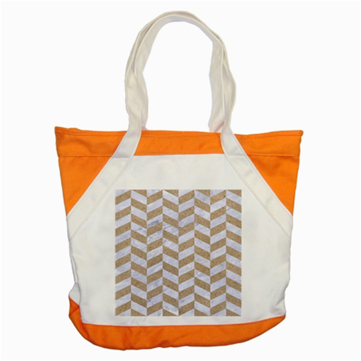 CHEVRON1 WHITE MARBLE & SAND Accent Tote Bag