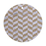 CHEVRON1 WHITE MARBLE & SAND Round Ornament (Two Sides) Front