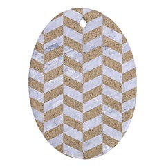 Chevron1 White Marble & Sand Oval Ornament (two Sides)