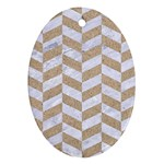 CHEVRON1 WHITE MARBLE & SAND Oval Ornament (Two Sides) Back