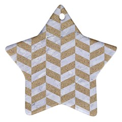 CHEVRON1 WHITE MARBLE & SAND Star Ornament (Two Sides)