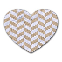 CHEVRON1 WHITE MARBLE & SAND Heart Mousepads