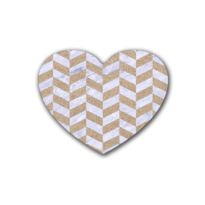 CHEVRON1 WHITE MARBLE & SAND Heart Coaster (4 pack)