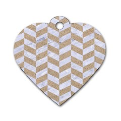 CHEVRON1 WHITE MARBLE & SAND Dog Tag Heart (One Side)
