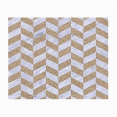 CHEVRON1 WHITE MARBLE & SAND Small Glasses Cloth (2-Side)