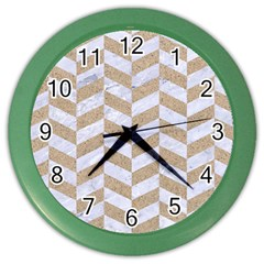 CHEVRON1 WHITE MARBLE & SAND Color Wall Clocks
