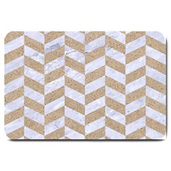 CHEVRON1 WHITE MARBLE & SAND Large Doormat