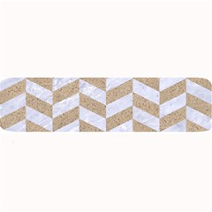 CHEVRON1 WHITE MARBLE & SAND Large Bar Mats