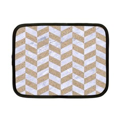 CHEVRON1 WHITE MARBLE & SAND Netbook Case (Small)