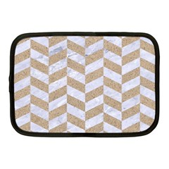 Chevron1 White Marble & Sand Netbook Case (medium)