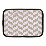 CHEVRON1 WHITE MARBLE & SAND Netbook Case (Medium)  Front