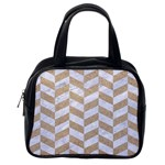CHEVRON1 WHITE MARBLE & SAND Classic Handbags (One Side) Front