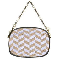 CHEVRON1 WHITE MARBLE & SAND Chain Purses (Two Sides)