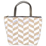 CHEVRON1 WHITE MARBLE & SAND Bucket Bags Front