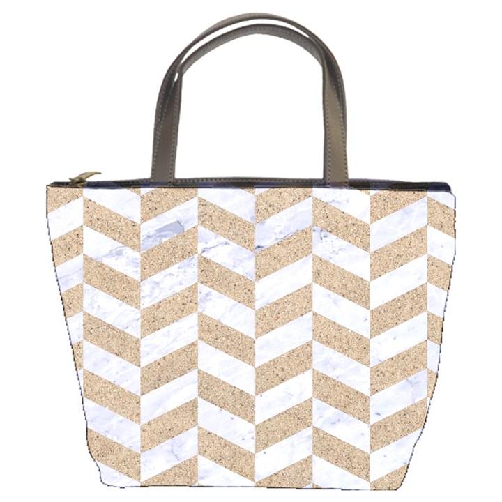 CHEVRON1 WHITE MARBLE & SAND Bucket Bags