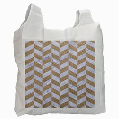 CHEVRON1 WHITE MARBLE & SAND Recycle Bag (One Side)