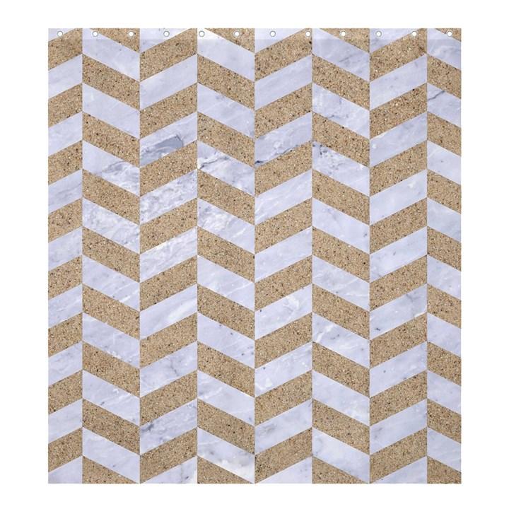 CHEVRON1 WHITE MARBLE & SAND Shower Curtain 66  x 72  (Large)