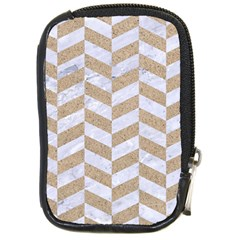 CHEVRON1 WHITE MARBLE & SAND Compact Camera Cases