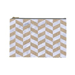 Chevron1 White Marble & Sand Cosmetic Bag (large)
