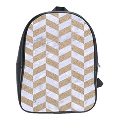 CHEVRON1 WHITE MARBLE & SAND School Bag (Large)