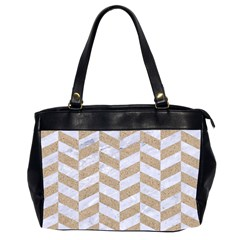 CHEVRON1 WHITE MARBLE & SAND Office Handbags (2 Sides)
