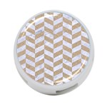 CHEVRON1 WHITE MARBLE & SAND 4-Port USB Hub (Two Sides)  Front