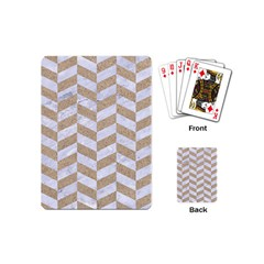 CHEVRON1 WHITE MARBLE & SAND Playing Cards (Mini)
