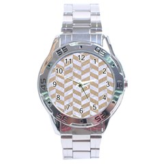 CHEVRON1 WHITE MARBLE & SAND Stainless Steel Analogue Watch