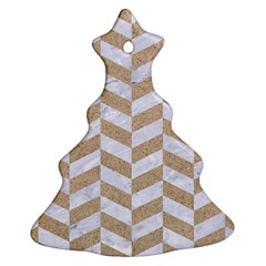 CHEVRON1 WHITE MARBLE & SAND Christmas Tree Ornament (Two Sides)