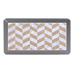 CHEVRON1 WHITE MARBLE & SAND Memory Card Reader (Mini) Front