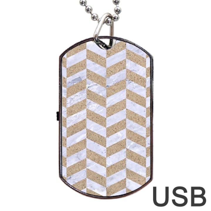 CHEVRON1 WHITE MARBLE & SAND Dog Tag USB Flash (Two Sides)