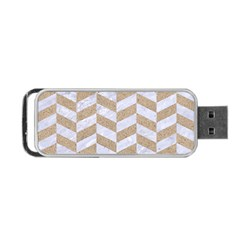 CHEVRON1 WHITE MARBLE & SAND Portable USB Flash (One Side)