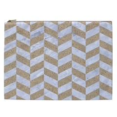 Chevron1 White Marble & Sand Cosmetic Bag (xxl)