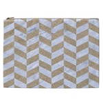 CHEVRON1 WHITE MARBLE & SAND Cosmetic Bag (XXL)  Front