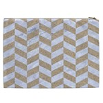 CHEVRON1 WHITE MARBLE & SAND Cosmetic Bag (XXL)  Back