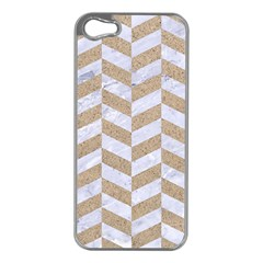 CHEVRON1 WHITE MARBLE & SAND Apple iPhone 5 Case (Silver)