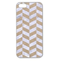 CHEVRON1 WHITE MARBLE & SAND Apple Seamless iPhone 5 Case (Clear)