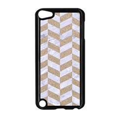 Chevron1 White Marble & Sand Apple Ipod Touch 5 Case (black)